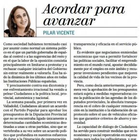 """""""ACORDAR PARA AVANZAR"""". Artículo de Pilar Vicente en Diario Castilla y León El Mundo"""