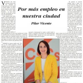 """""""Por más Empleo en nuestra ciudad"""". Artículo de Pilar Vicente en Delicias al día."""