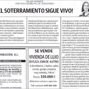 """""""¡El soterramiento sigue vivo!"""". Artículo de opinión de Pilar Vicente en El Norte de Castilla."""