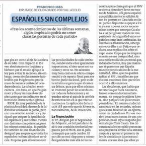 """""""Españoles sin complejos"""". Artículo de Francisco Igea en El Norte de Castilla"""