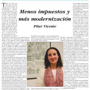 """""""Menos impuestos y más modernización"""". Artículo de Pilar Vicente en Delicias al día."""