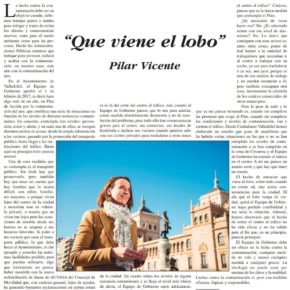 """""""Que viene el lobo"""". Artículo de Pilar Vicente en Delicias al día."""