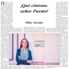 ¡Qué cinismo, Sr Puente! Artículo de Pilar Vicente en Delicias al día.