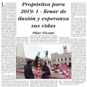 """""""Propósitos para 2019: 1- Llenar de ilusión y esperanza sus vidas"""". Artículo de Pilar Vicente en Delicias al día."""