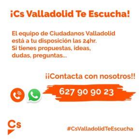 Ciudadanos Valladolid pone a disposición de todos los vecinos un teléfono para escuchar sus propuestas e ideas y atender sus dudas y quejas
